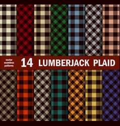 Set of lumberjack plaids seamless patterns vector