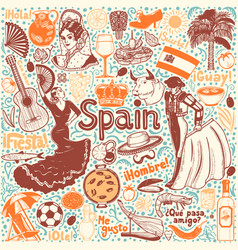 Set of symbols of spain in hand-drawn style vector