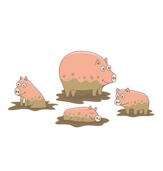 set pigs vector image