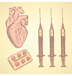 Sketch syringe pills human heart vector image