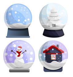 snowglobe icon set cartoon style vector image