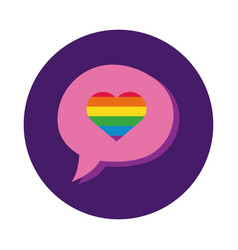 speech bubble with heart gay pride block style vector image