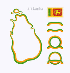 Sri lanka - outline map and ribbons vector