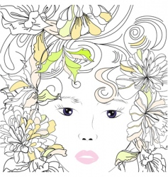 stylized young girl portrait vector image vector image