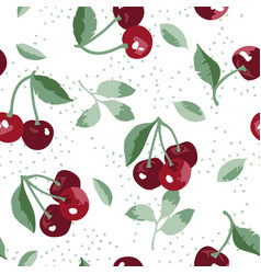 Summer pattern with sweet cherries flowers vector
