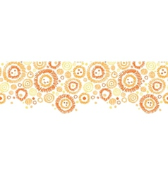Sunny faces horizontal seamless pattern background vector image
