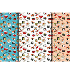 Sushi rolls seamless pattern set asian food vector