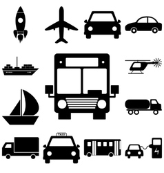Transport sign set Flat style icons illuatration vector image