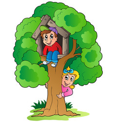 tree with two cartoon kids vector image