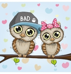 Two Cute Owls vector