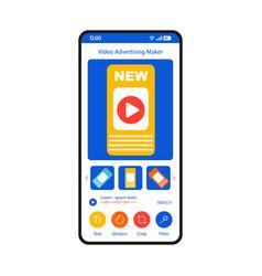 Video advertising maker smartphone interface vector