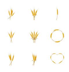 Wheat ears or rice icons set cartoon style vector