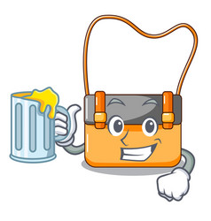 with juice menesseger bag color on a cartoon vector image