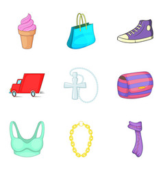 Woman marketing icons set cartoon style vector