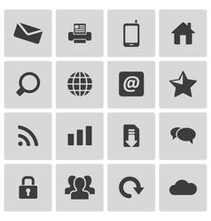 black internet icons set vector image vector image