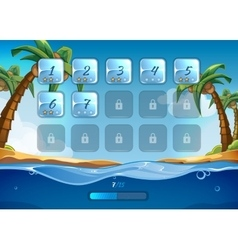 Island game background with user interface UI in vector image vector image