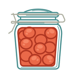 jar with pickled tomatoes vector image vector image