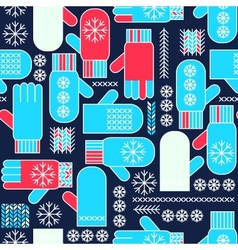 Winter mittens snowflake seamless pattern vector image vector image