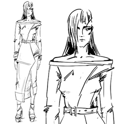 Drawing girl model vector