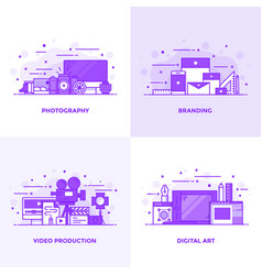 flat line purple designed concepts 3 vector image
