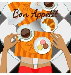 Girl and coffee top view vector image vector image