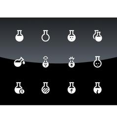 Laboratory bulb icons on black background vector image