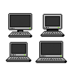 pixelated set of pcs and laptops - isolated vector image vector image