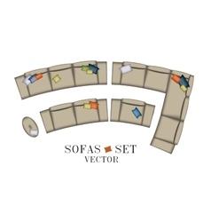 Sofas Armchair Set Top view Furniture Pouf vector image vector image