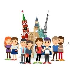 Travel people taking selfie front landmarks vector image vector image