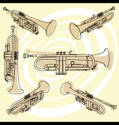 trumpets set vector image vector image