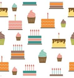 Birthday Cake Flat Seamless Pattern Background vector image