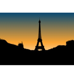 black silhouette of eiffel tower vector image vector image