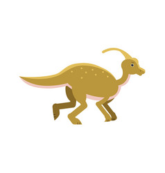 cute cartoon parasaurolof dinosaur prehistoric vector image vector image