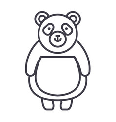 cute panda line icon sign on vector image