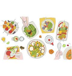 festive vegetarian tableful laid table holidays vector image