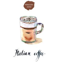 glass of italian coffee vector image