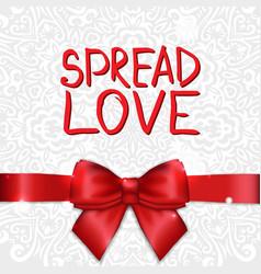 holiday greeting card with satin ribbon and bow vector image