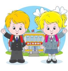 Schoolchildren before a school vector image vector image