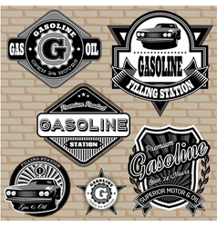 set of labels on the topic gasoline vector image vector image