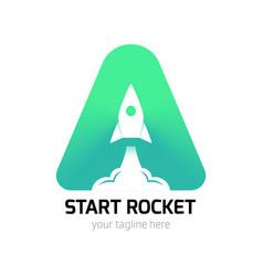 vertical start rocket logo vector image