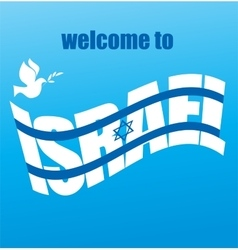 abstract Israeli flag and peace white dove vector image vector image