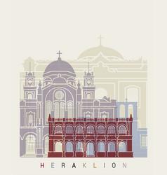 heraklion skyline poster vector image