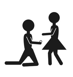 silhouette couple marriage proposal design vector image