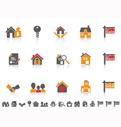 simple color real estate icon set vector image vector image