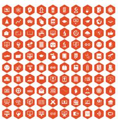 100 e-learning icons hexagon orange vector