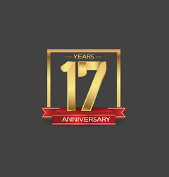 17 years anniversary logo style with golden vector