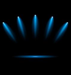 5 blue spotlights on dark background vector