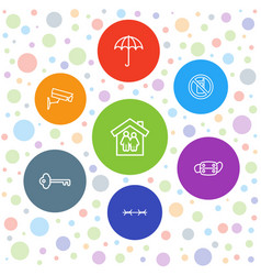 7 protection icons vector image