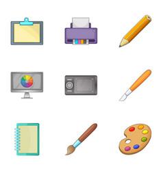 Art tools icons set cartoon style vector