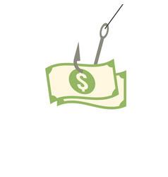 banknote on fish hook flat design vector image